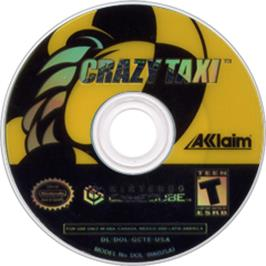 Artwork on the CD for Crazy Taxi on the Nintendo GameCube.