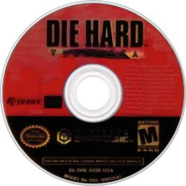 Artwork on the CD for Die Hard: Vendetta on the Nintendo GameCube.