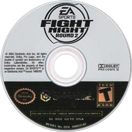 Artwork on the CD for Fight Night Round 2 on the Nintendo GameCube.