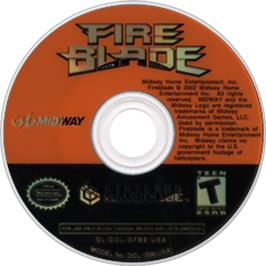 Artwork on the CD for Fireblade on the Nintendo GameCube.