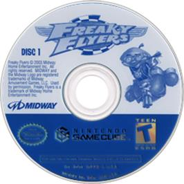 Artwork on the CD for Freaky Flyers on the Nintendo GameCube.