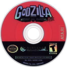 Artwork on the CD for Godzilla: Destroy All Monsters Melee on the Nintendo GameCube.
