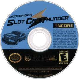 Artwork on the CD for GrooveRider:  Slot Car Thunder on the Nintendo GameCube.