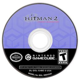 Artwork on the CD for Hitman 2: Silent Assassin on the Nintendo GameCube.