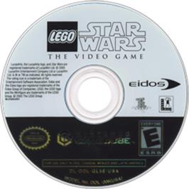 Artwork on the CD for LEGO Star Wars: The Video Game on the Nintendo GameCube.