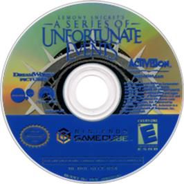 Artwork on the CD for Lemony Snicket's A Series of Unfortunate Events on the Nintendo GameCube.