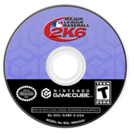 Artwork on the CD for Major League Baseball 2K6 on the Nintendo GameCube.