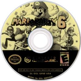 Artwork on the CD for Mario Party 6 on the Nintendo GameCube.