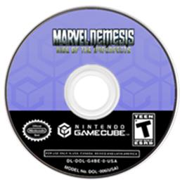 Artwork on the CD for Marvel Nemesis: Rise of the Imperfects on the Nintendo GameCube.