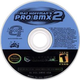 Artwork on the CD for Mat Hoffman's Pro BMX 2 on the Nintendo GameCube.