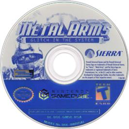 Artwork on the CD for Metal Arms: Glitch in the System on the Nintendo GameCube.