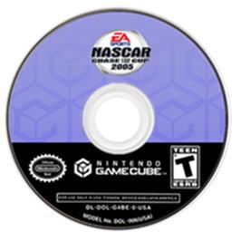 Artwork on the CD for NASCAR 2005: Chase for the Cup on the Nintendo GameCube.