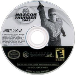 Artwork on the CD for NASCAR Thunder 2003 on the Nintendo GameCube.
