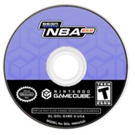 Artwork on the CD for NBA 2K2 on the Nintendo GameCube.