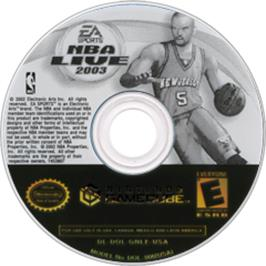 Artwork on the CD for NBA Live 2003 on the Nintendo GameCube.