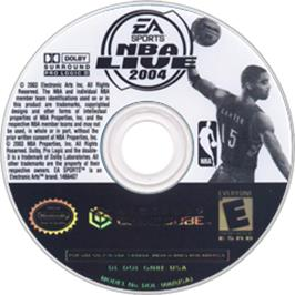 Artwork on the CD for NBA Live 2004 on the Nintendo GameCube.