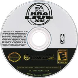 Artwork on the CD for NBA Live 2005 on the Nintendo GameCube.