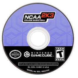 Artwork on the CD for NCAA College Basketball 2K3 on the Nintendo GameCube.