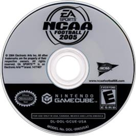 Artwork on the CD for NCAA Football 2005 on the Nintendo GameCube.