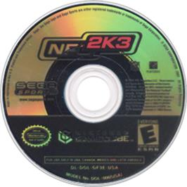 Artwork on the CD for NFL 2K3 on the Nintendo GameCube.