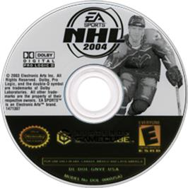 Artwork on the CD for NHL 2004 on the Nintendo GameCube.