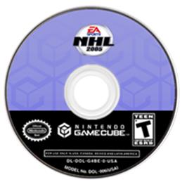 Artwork on the CD for NHL 2005 on the Nintendo GameCube.