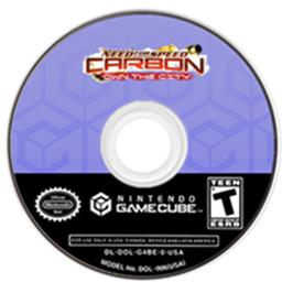 Artwork on the CD for Need for Speed: Carbon on the Nintendo GameCube.