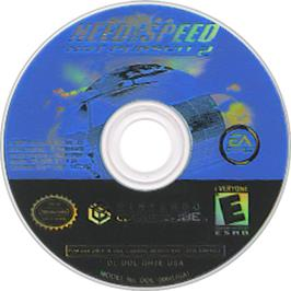 Artwork on the CD for Need for Speed: Hot Pursuit 2 on the Nintendo GameCube.