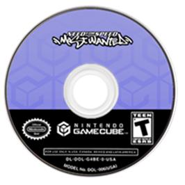 Artwork on the CD for Need for Speed: Most Wanted on the Nintendo GameCube.