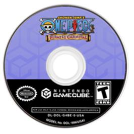 Artwork on the CD for One Piece: Pirates' Carnival on the Nintendo GameCube.