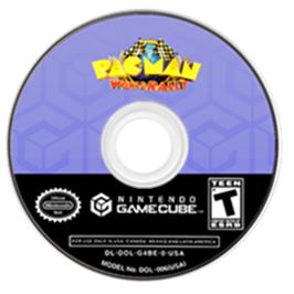 Artwork on the CD for Pac-Man World Rally on the Nintendo GameCube.