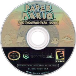 Artwork on the CD for Paper Mario: The Thousand-Year Door on the Nintendo GameCube.