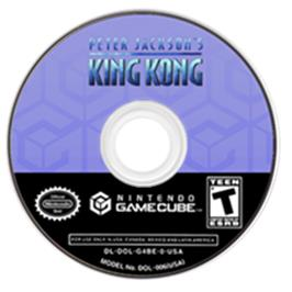 Artwork on the CD for Peter Jackson's King Kong: The Official Game of the Movie on the Nintendo GameCube.