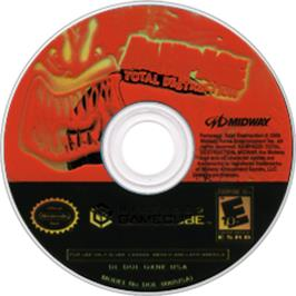 Artwork on the CD for Rampage: Total Destruction on the Nintendo GameCube.
