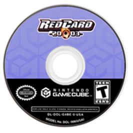 Artwork on the CD for RedCard 20-03 on the Nintendo GameCube.