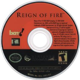 Artwork on the CD for Reign of Fire on the Nintendo GameCube.