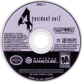 Artwork on the CD for Resident Evil 4 on the Nintendo GameCube.