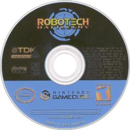 Artwork on the CD for Robotech: Battlecry on the Nintendo GameCube.