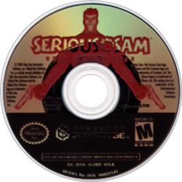 Artwork on the CD for Serious Sam: Next Encounter on the Nintendo GameCube.