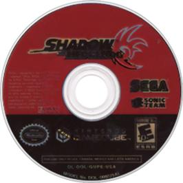 Artwork on the CD for Shadow the Hedgehog on the Nintendo GameCube.