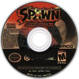 Artwork on the CD for Spawn: Armageddon on the Nintendo GameCube.