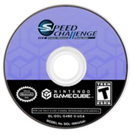 Artwork on the CD for Speed Challenge: Jacques Villeneuve's Racing Vision on the Nintendo GameCube.