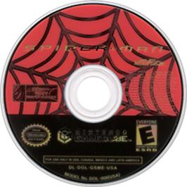 Artwork on the CD for Spider-Man: The Movie on the Nintendo GameCube.