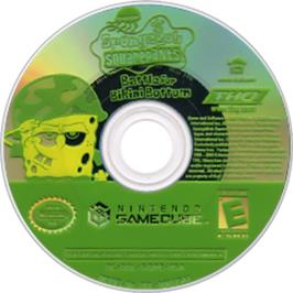 Artwork on the CD for SpongeBob SquarePants: Battle for Bikini Bottom on the Nintendo GameCube.