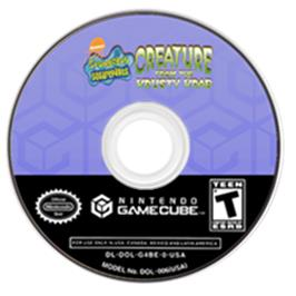 Artwork on the CD for SpongeBob SquarePants: Creature from the Krusty Krab on the Nintendo GameCube.