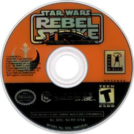 Artwork on the CD for Star Wars: Rogue Squadron III - Rebel Strike on the Nintendo GameCube.