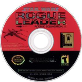 Artwork on the CD for Star Wars: Rogue Squadron II - Rogue Leader on the Nintendo GameCube.