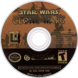 Artwork on the CD for Star Wars: The Clone Wars on the Nintendo GameCube.