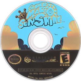 Artwork on the CD for Super Mario Sunshine on the Nintendo GameCube.