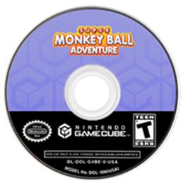 Artwork on the CD for Super Monkey Ball Adventure on the Nintendo GameCube.